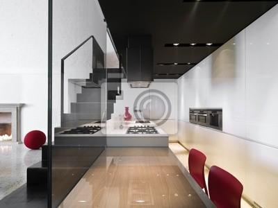 Cucina moderna con scala in ferro a vista carta da parati • carte da ...