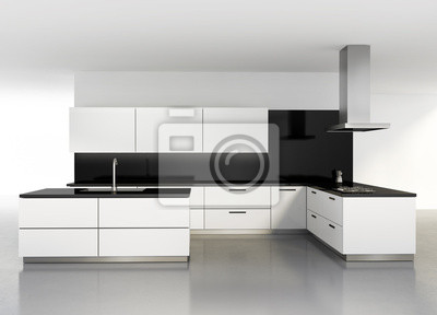 Cucina moderna minimal bianco carta da parati • carte da parati ...