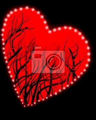 Cuore Rosso Su Sfondo Nero Con Lens Flare In Tutto Il Edg Carta Da