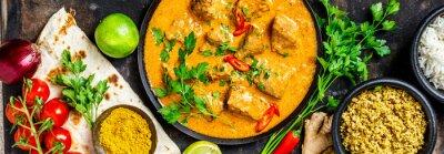 Carta da parati Curry e ingredienti tradizionali