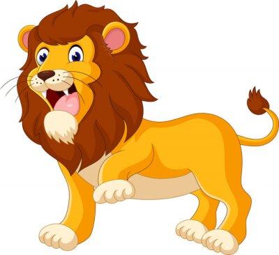 Carta da parati Cute lion cartoon di illustrazione