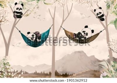Carta da parati cute pandas lying in hammock for child room wallpaper design