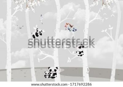 Carta da parati Cute pandas playing in the jungle