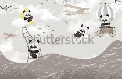 Carta da parati cute pandas playing in the sky kids room wallpaper design