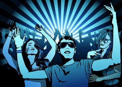 Carta da parati Dancing People on Disco Party - Illustration, Vector