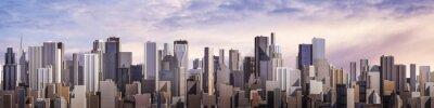 Carta da parati Day city panorama / 3D render of daytime modern city under bright sky