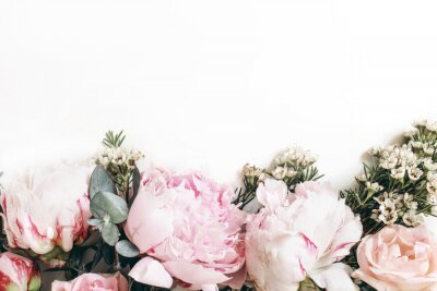 Carta da parati Decorative web banner made of beautiful pink peonies, rosies and eucalyptus isolated on white background. Feminine floral frame composition. Styled stock photo.Empty space. Flat lay, top view.