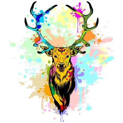 Carta da parati Deer PopArt gocce di vernice
