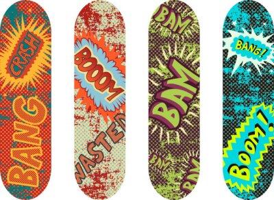 Carta da parati Design Confezione di vettore skateboard con effetti di stile cartone animato