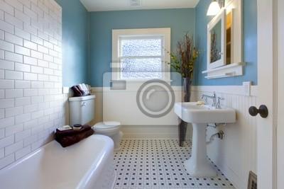 Sala Da Bagno Lusso : Design di lusso antico della stanza da bagno blu carta da parati