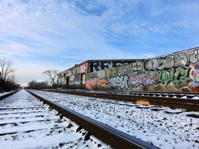 Carta da parati Detroit, Michigan binari del treno e neve - paesaggio foto a colori