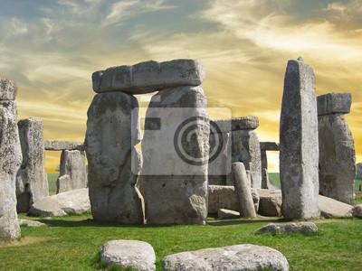 Carta da parati Dettagli di Stonehenge con bel cielo