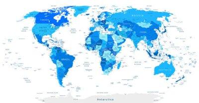 Carta da parati Dettagliata mappa del mondo blu