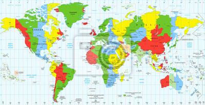 Cartina Fusi Orari Mondo.Dettagliata Mappa Mondiale Fusi Orari Standard Carta Da Parati Carte Da Parati Reticolo Turismo Un Myloview It