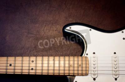 Carta da parati Dettaglio del corpo e del collo della chitarra elettrica su sfondo in legno aspetto vintage