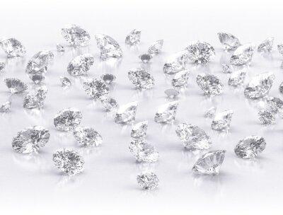 Carta da parati diamanti grande gruppo su sfondo bianco