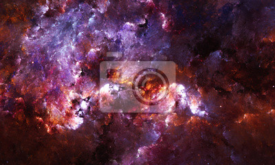Carta da parati Digitale pittura astratta di una nebulosa galassia con stelle nello spazio.