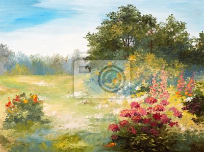 Dipinto ad olio - campo di fiori e forestali carta da parati • carte ...