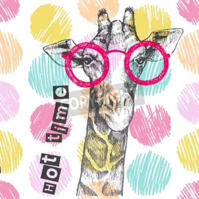 Carta da parati Disegnata a mano la giraffa. Occhiali giraffi luminosi - hipster. Tempo caldo. Stampa estiva su abbigliamento, scarpe, maglietta, raglan. Vettore