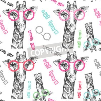 Carta da parati Disegnata a mano la giraffa. Occhiali giraffi luminosi - hipster. Tempo caldo. Stampa estiva su abbigliamento, scarpe, maglietta, raglan. Vettore. Modello per tessuto o carta