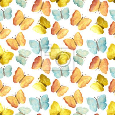Disegnati A Mano Con Vernici Pearly Farfalle Rosse Gialle E Carta