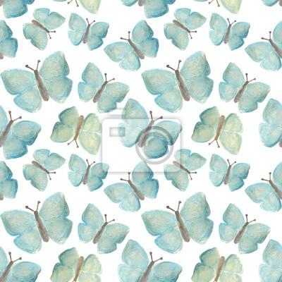 Disegnati A Mano Con Vernici Perlato Farfalle Blu Su Sfondo Bianco