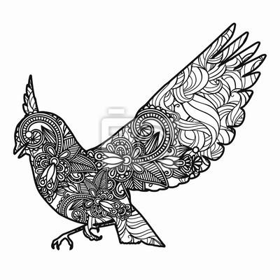 Disegno A Mano Bird Per Adulti Antistress Colorare Con Dettagli