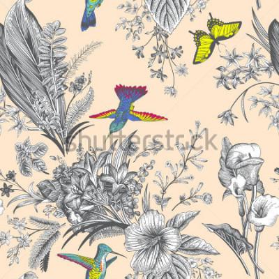 Carta da parati Disegno floreale senza cuciture di vettore. Fiori esotici e uccelli Illustrazione classica botanica. Colorato