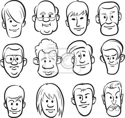 Disegno Lavagna Uomini Facce Teste Dei Cartoni Animati Carta Da
