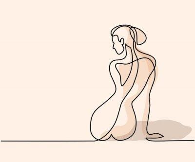 Carta da parati Disegno lineare continuo. Donna seduta indietro. Illustrazione vettoriale di colore morbido