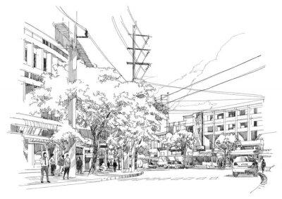 Carta da parati disegno schizzo della città di street.Illustration.