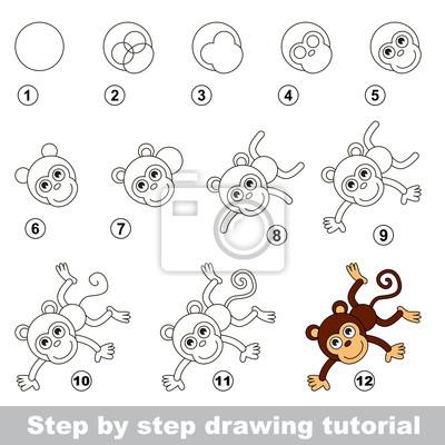 Carta da parati Disegno tutorial. Come disegnare un divertente scimmia 6b179d759312