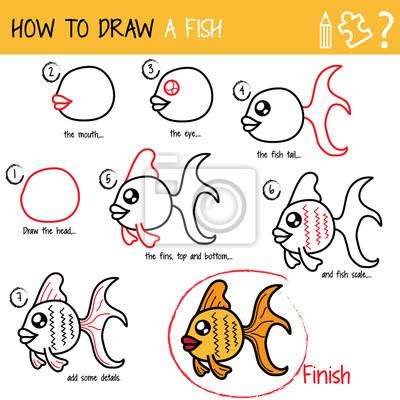 Carta da parati Disegno tutorial. Come disegnare un pesce. Passo dopo passo. 550d35ca3756