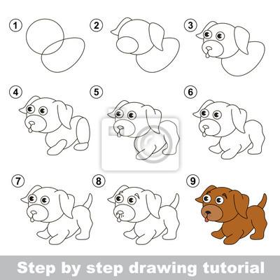 Disegno tutorial. come disegnare un piccolo cucciolo carta da parati ... 0c5f520ac309