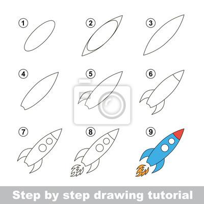Disegno tutorial. come disegnare un razzo giocattolo carta da parati ... 290fdf8af824