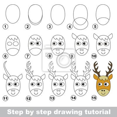 Disegno tutorial. come disegnare una testa di cervo carta da parati ... 4a892afe6224
