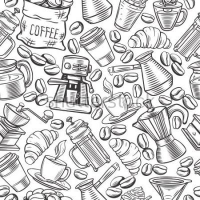 Carta da parati Disegno vettoriale seamless caffè con tazze schizzo, bevande calde, stampa francese, birraio per menu cafe.