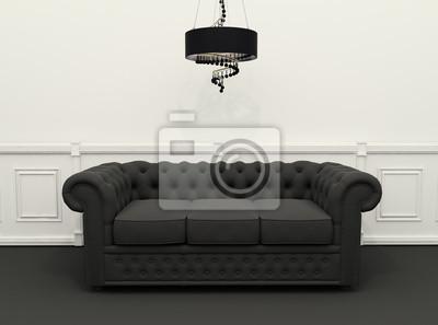 Divano Nero E Bianco : Divano con lampadario in bianco e nero interni classici carta da