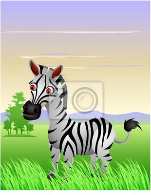 Divertente cartone animato zebra con il paesaggio di sfondo carta
