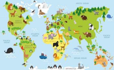 Carta da parati Divertente mappa del mondo del fumetto con gli animali tradizionali di tutti i continenti e gli oceani. illustrazione vettoriale per l'istruzione prescolare e bambini Design