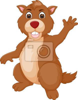 Divertente marmotta cartone animato in piedi con sventolando carta