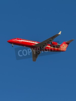 Carta da parati Domodedovo - March 17, 2015: Red Passenger Aircraft Bombardier (Canadair) CRJ-200 airline Ruslayn Airlines landing at Domodedovo airport March 17, 2015, Domodedovo, Moscow Region, Russia