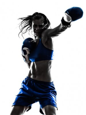 Carta da parati donna boxer kickboxing boxing silhouette isolato
