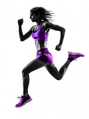 Carta da parati donna corridore jogger in esecuzione il jogging silhouette