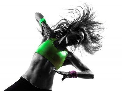 Carta da parati donna esercizio Zumba Fitness silhouette danza