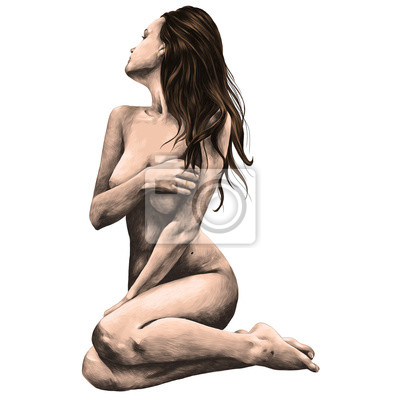 Carta da parati donna nuda in posa per un disegno di grafica vettoriale schizzo vettoriale