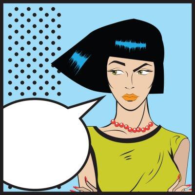 Carta da parati Donna Pop art - Retro clipart illustrazione