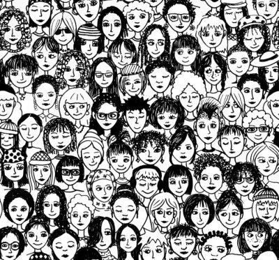 Carta da parati Donne - disegnata a mano modelli di sfondo / Endlosmuster con molte donne diverse (nero e bianco) versione