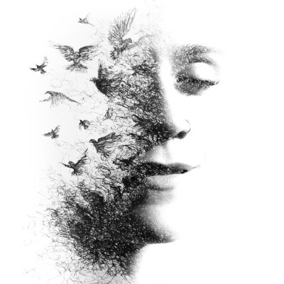 Carta da parati Double Exposure portrait of an elegant woman with closed eyes combined with hand made pencil drawing of a flock of birds flying freely resembling disintegrating particles of her being, black