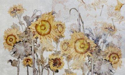 Carta da parati Drawing of sunflowers, illustration of flowers. Flowers for wallpaper, photo wallpaper, mural, card, postcard. Beautiful wallpaper design.